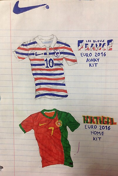 France Away and Portugal Home concept for Euro 2016 (Sketch)