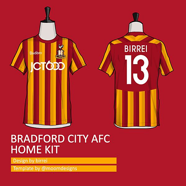 Bradford City AFC home kit *STRIPES II TEAMWEAR*