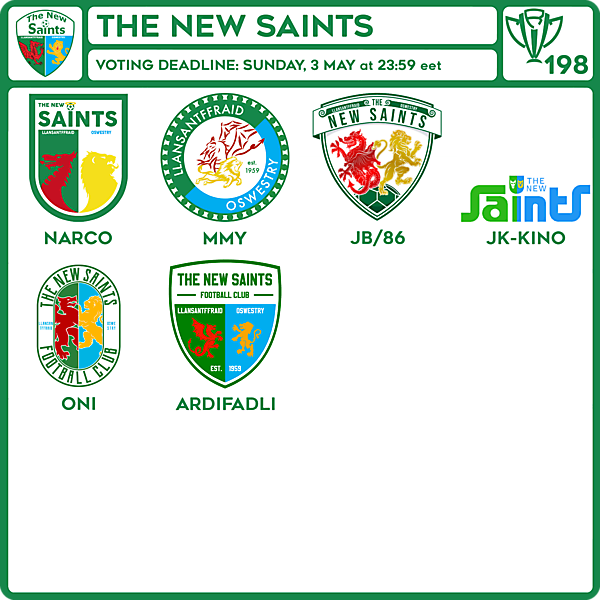 CRCW 198 VOTING - THE NEW SAINTS