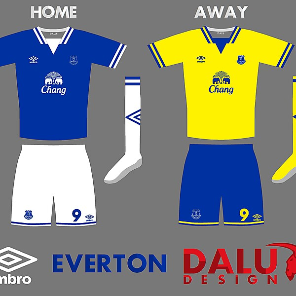 Everton Home and Away kits