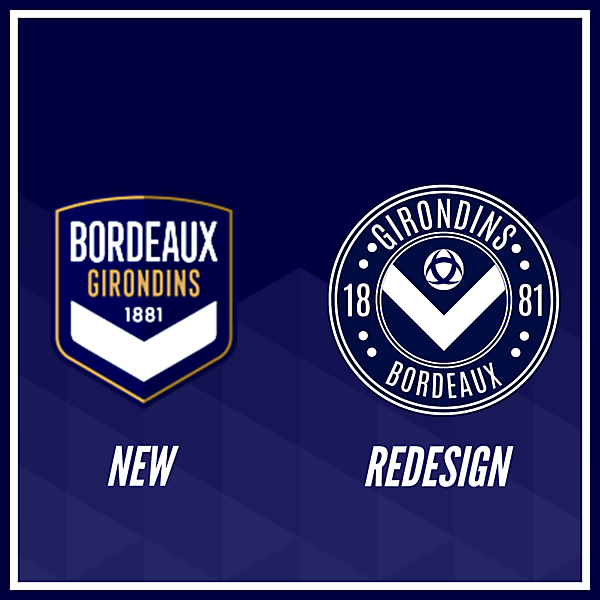 Girondins de Bordeaux Crest Redesign Comparison