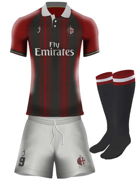 AC MIlan home kit by J-sports