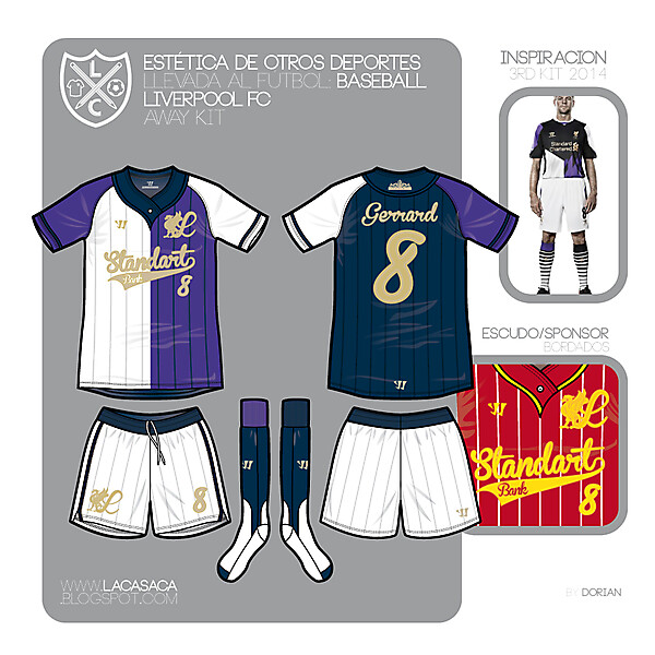 Baseball styled Liverpool FC Third KIT