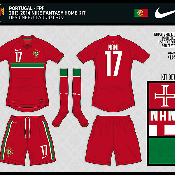 Portugal - 2013/2014 Nike Home Fantasy Kit - by Cláudio Cruz