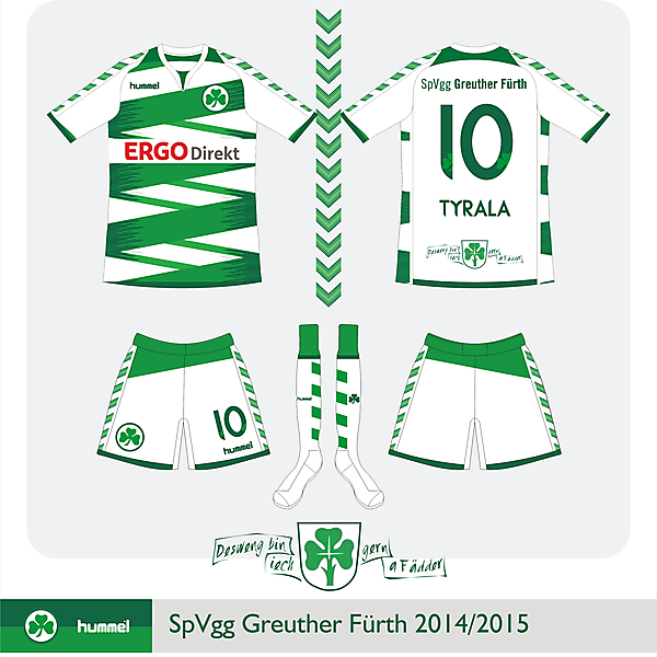 SpVgg Greuther Fürth Home kit by Hummel 2014/2015