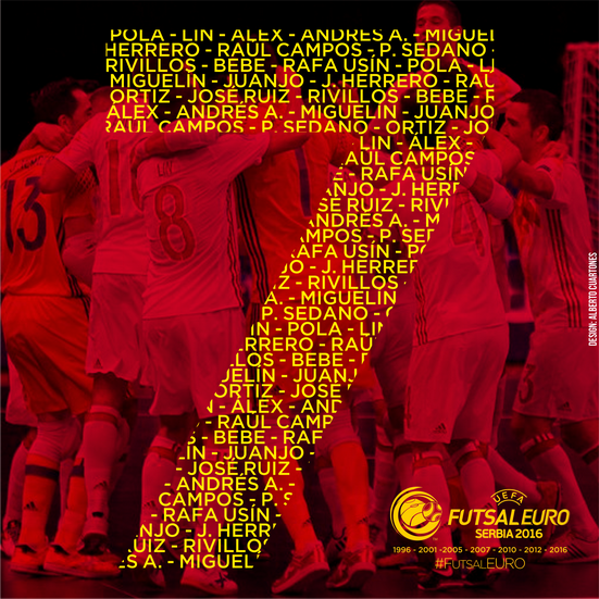 Spain UEFA Futsal EURO 2016™ Seven Time Winner