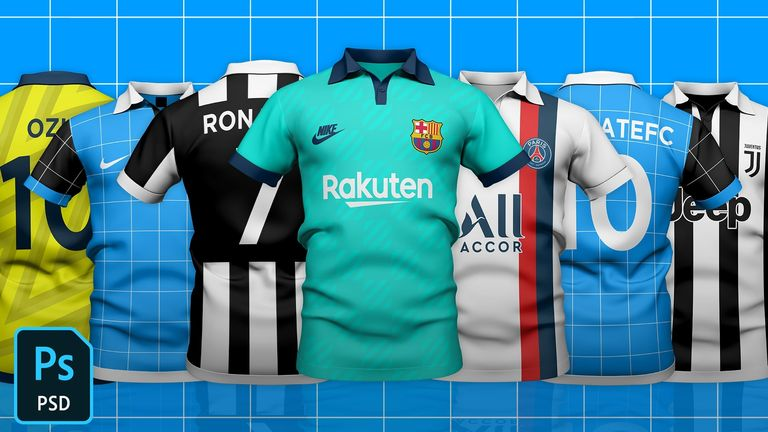 Collared Top Football/Soccer Jersey Template Mock-Up