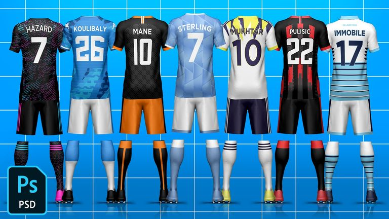 Full Kit Builder Back Soccer/Football Template Mock-Up