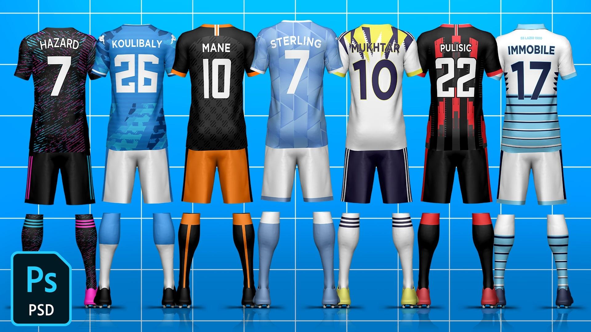 Full Kit Builder Back Soccer/Football Template Mock-Up