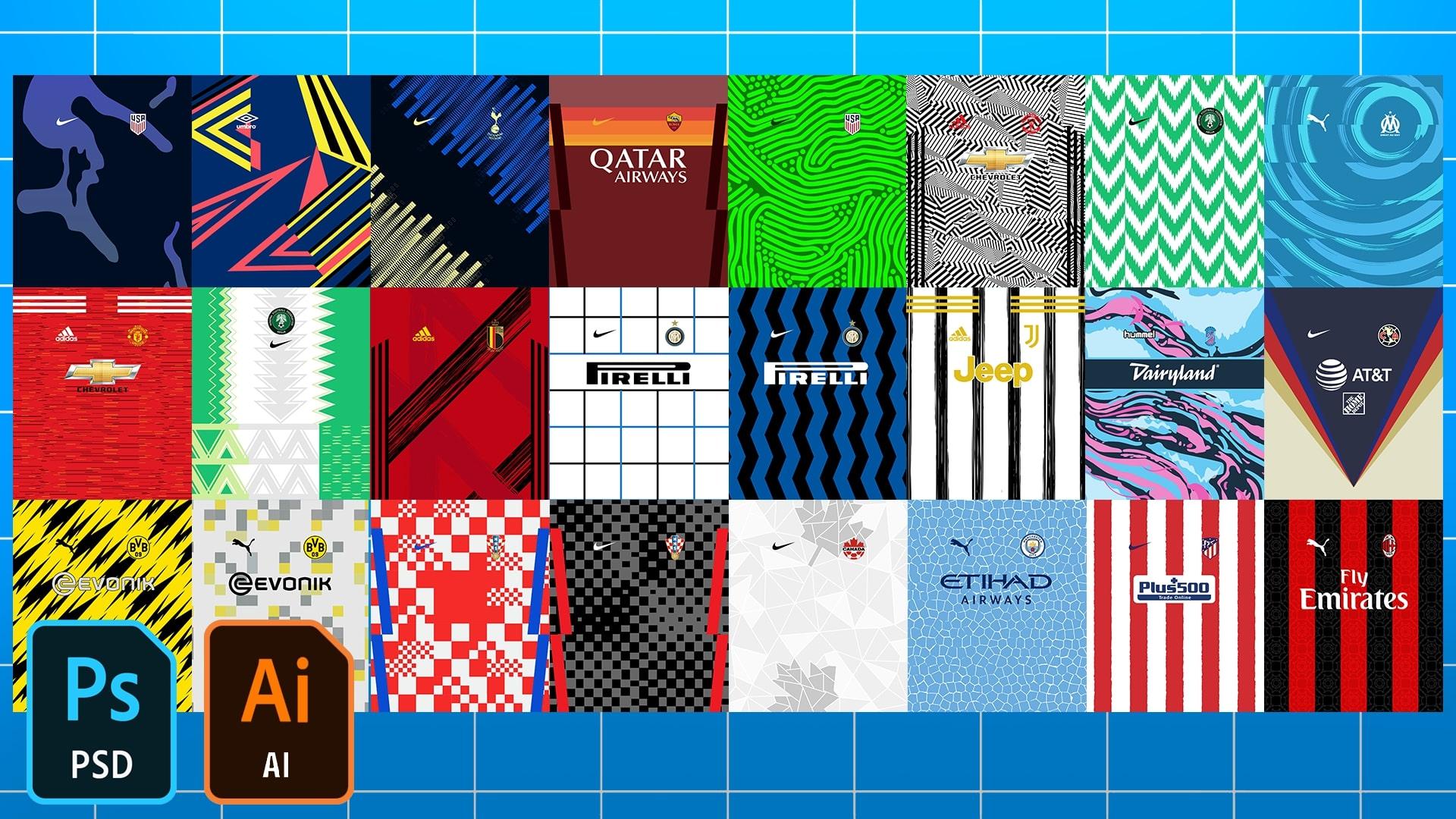 Football/Soccer Jersey Patterns Pack 2020-2021
