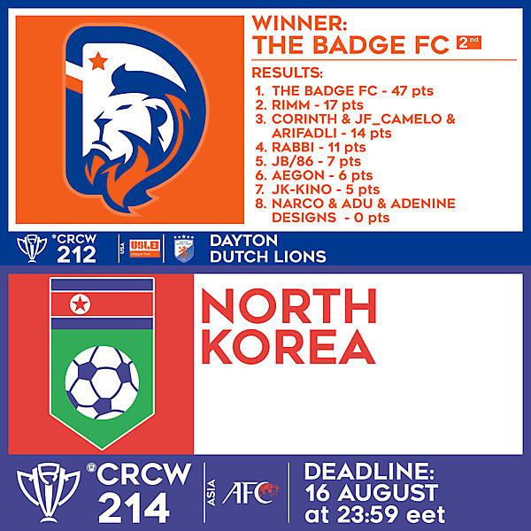 CRCW 212 RESULTS - DAYTON DUTCH LIONS  |  CRCW 214 - NORTH KOREA