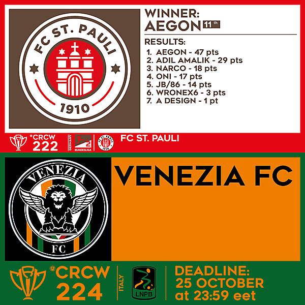 CRCW 222 RESULTS - FC ST. PAULI  |  CRCW 224 - VENEZIA FC