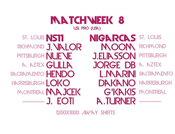 Matchday 8 Draw : Crimson League (AWAY SHIRTS)