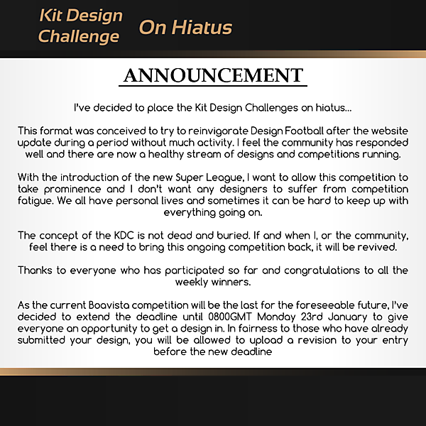 Kit Design Challenge: On Hiatus