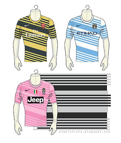 Arsenal - Man City - Juventus Nike 2014 Away shirts