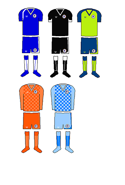Chelsea Home, Away, 3rd and Goalkeeping kits. Own Brand