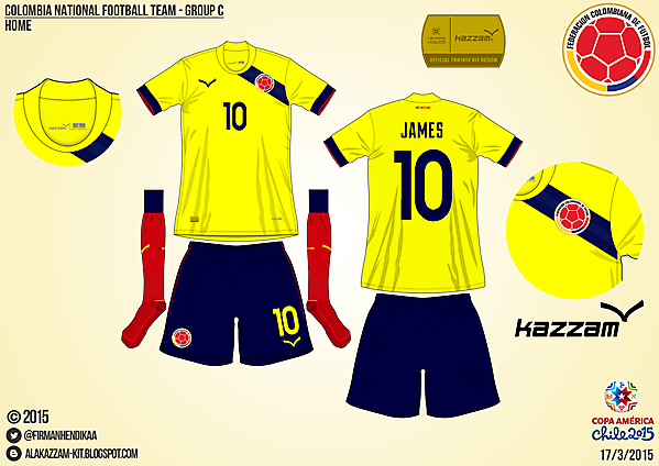 Colombia Home - Group C, 2015 Copa América
