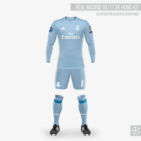 sports shoes 0f1f1 27fdf Real Madrid 16/17 Goalkeeper Home Kit