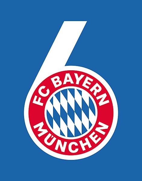 FC Bayern Munich 6 times kings of Europe celebration logo.