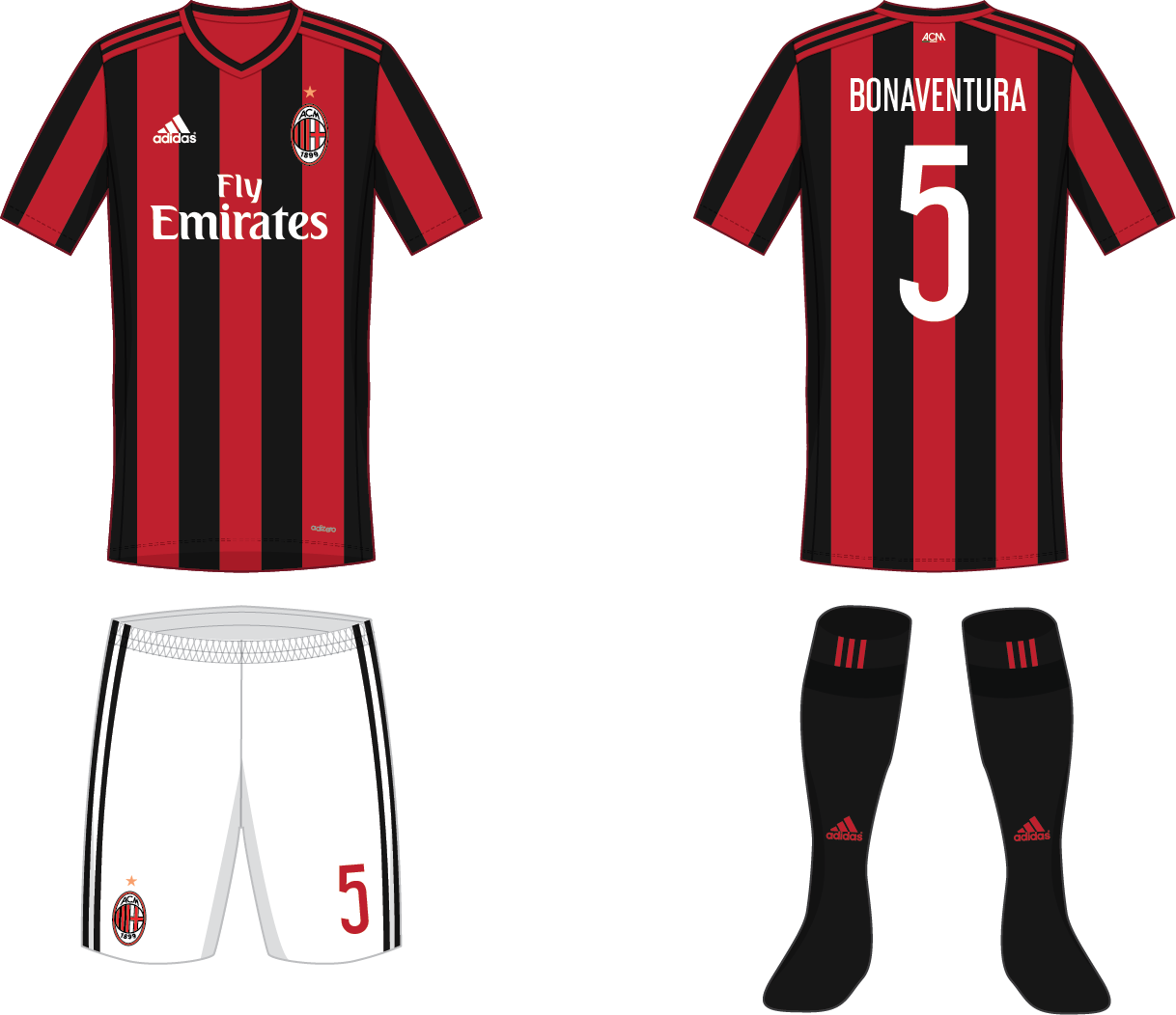 timeless design 9de06 608aa AC Milan - Home kit