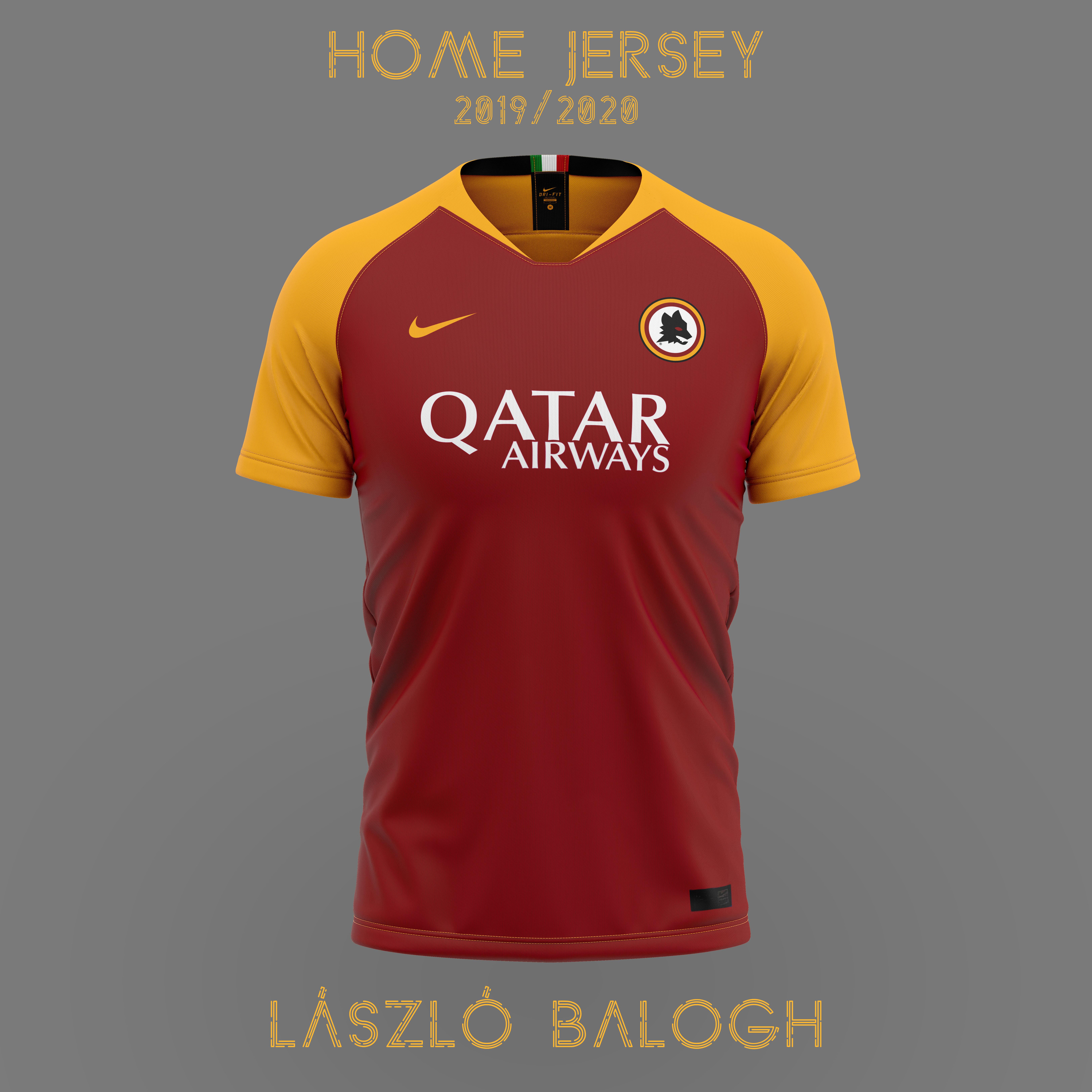 buy online fe031 e768c AS Roma 2019/2020 Home Jersey Concept
