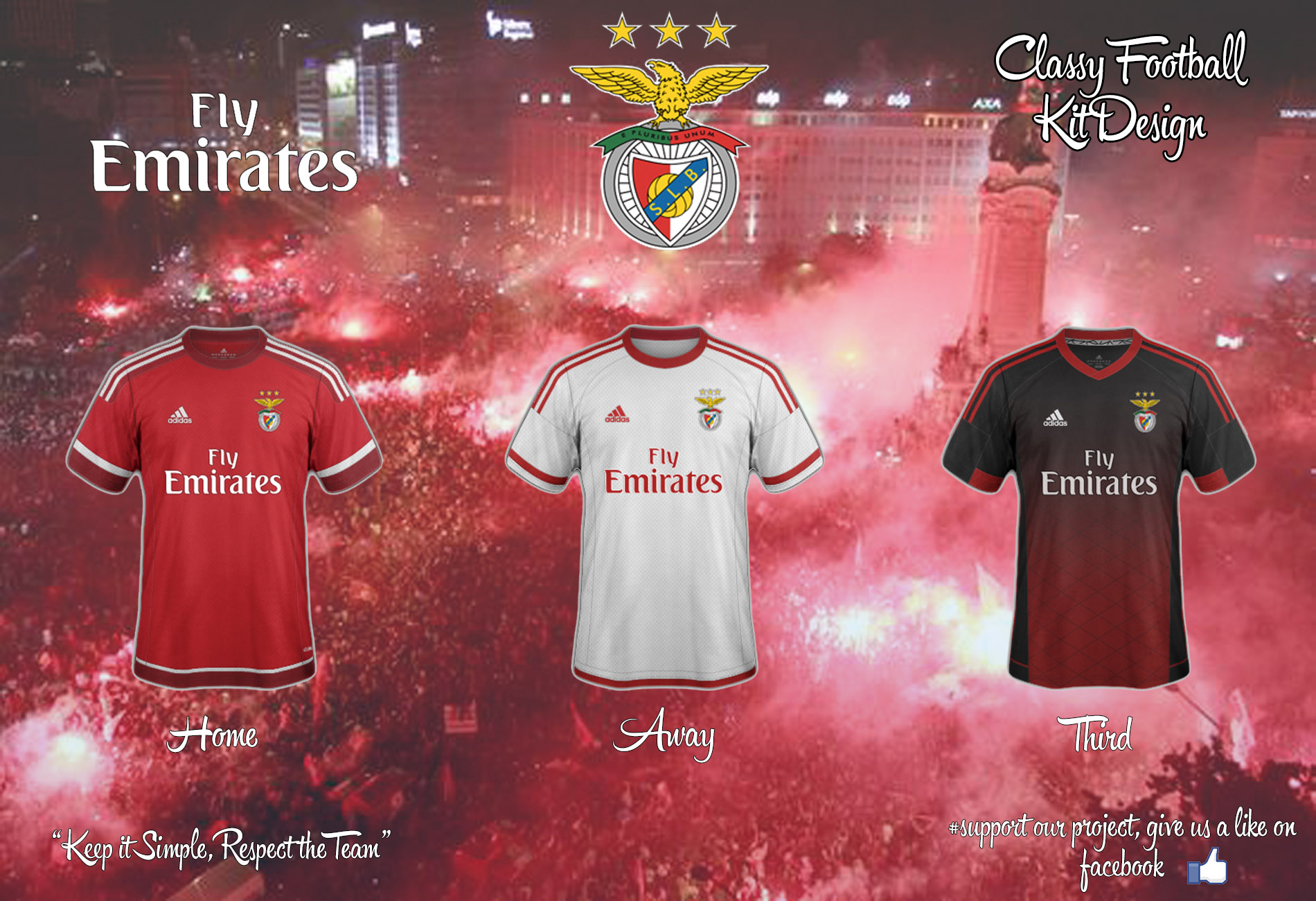 detailed look 49e00 7dfad Benfica Concept 15/16 Home, Away, Third