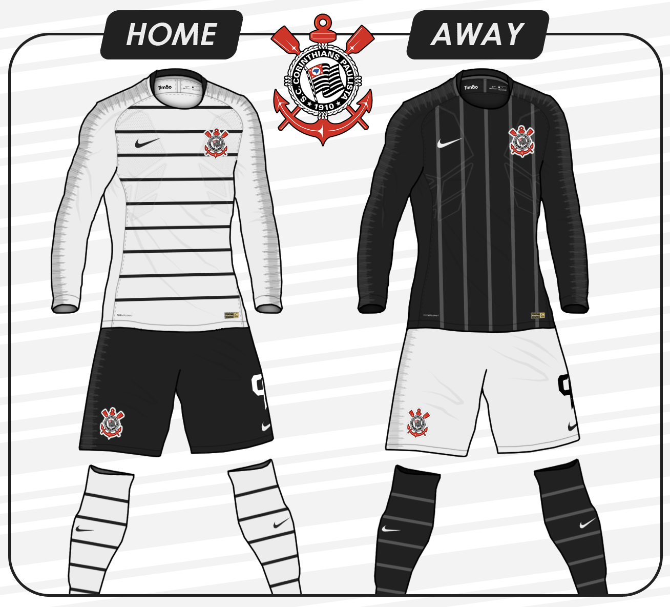 Corinthians 2018 19 Fantasy Home and Away Kits (based on Nike s newest  template) 09e2c2358922a