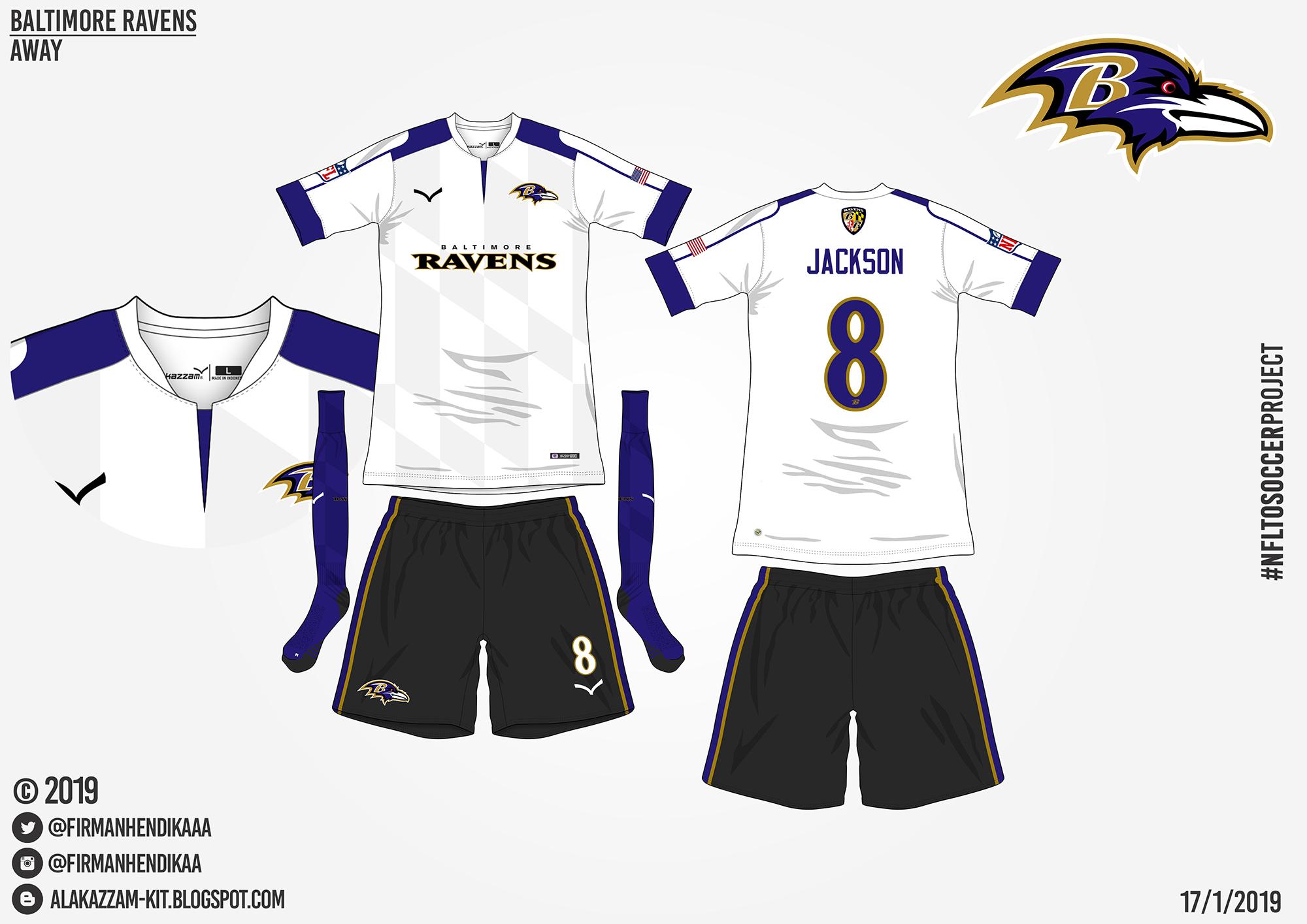 timeless design a4900 99f3a NFLtoSoccerProject - Baltimore Ravens (Away)