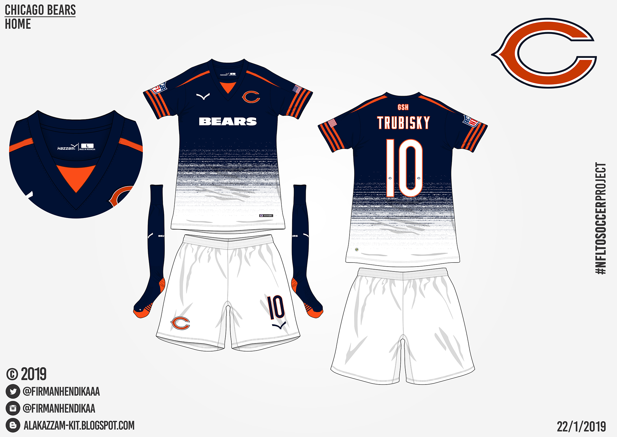 finest selection 6e950 9fe89 NFLtoSoccerProject - Chicago Bears (Home)