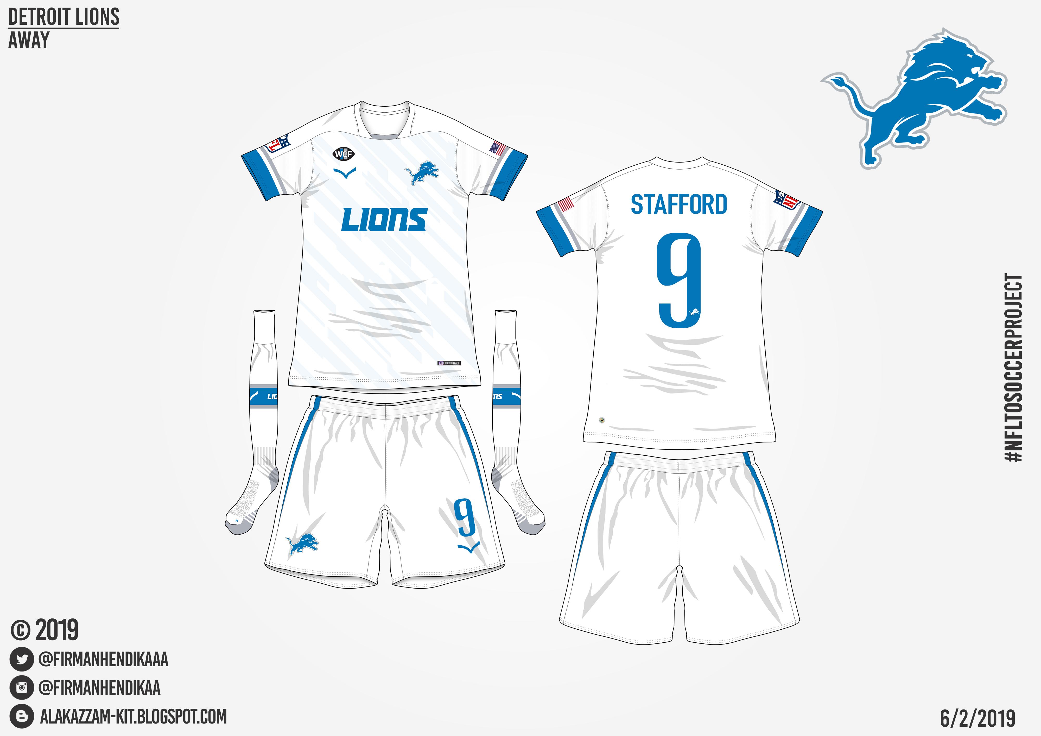 new styles 7acdb a6100 NFLtoSoccerProject - Detroit Lions (Away)
