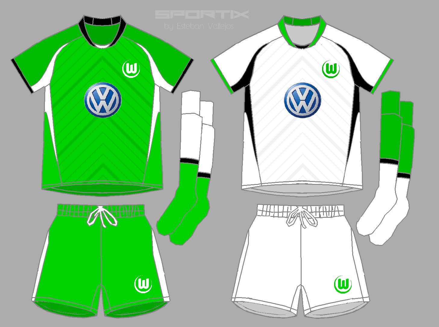 free shipping 55c42 40e8d Wolfsburg Home 6 away Soccer Jersey
