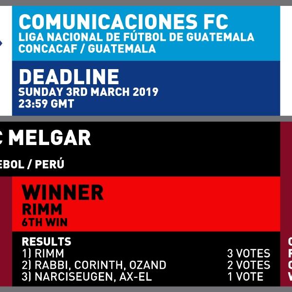 CRCW 147 COMUNICACIONES FC   CRCW 145 RESULTS