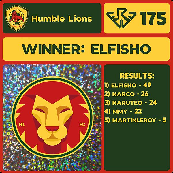 CRCW 175 RESULTS - HUMBLE LIONS F.C.