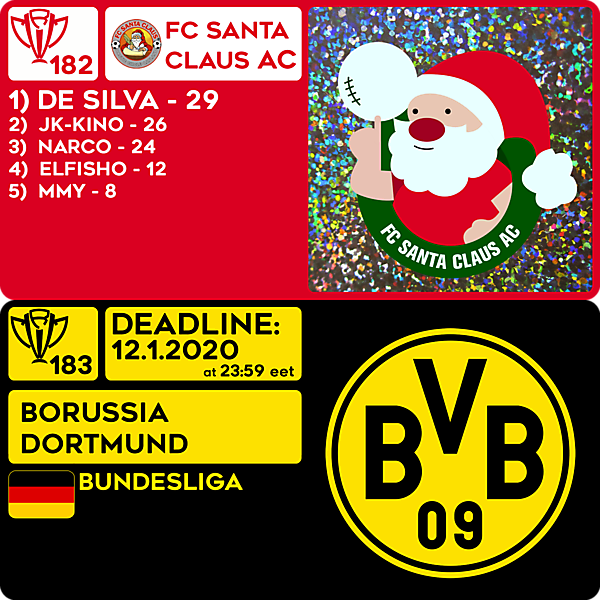 CRCW 182 RESULTS - FC SANTA CLAUS AC  |  CRCW 183 - BORUSSIA DORTMUND