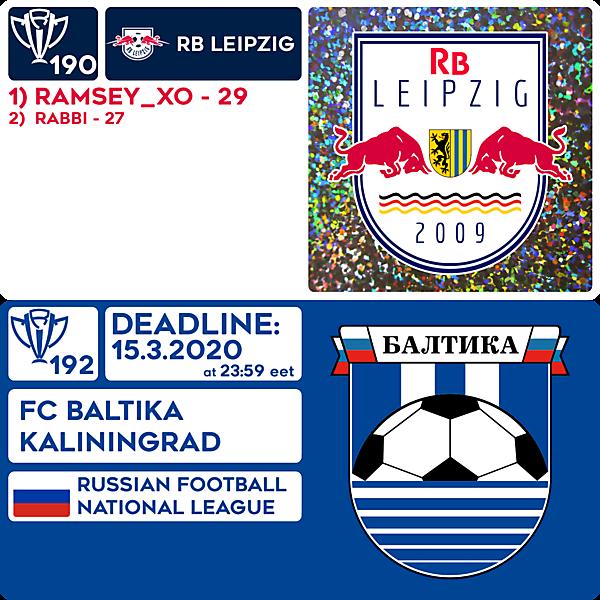 CRCW 190 RESULTS - RB LEIPZIG     CRCW 192 - FC BALTIKA KALININGRAD