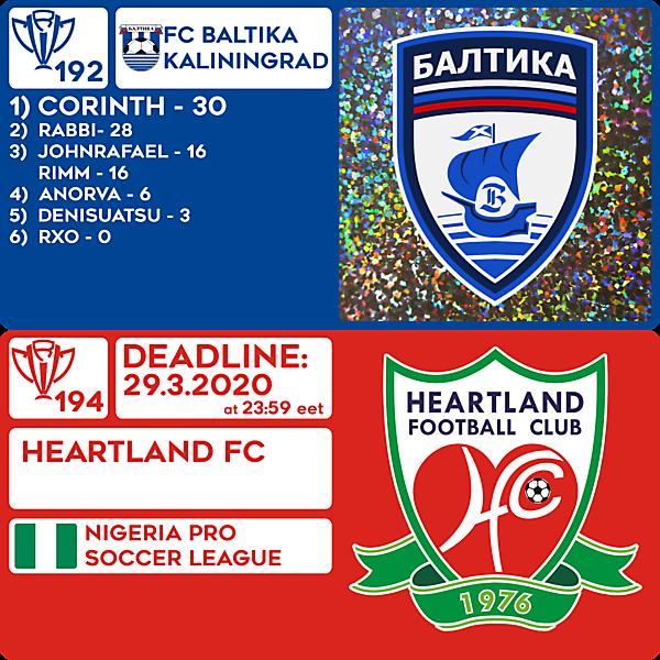CRCW 192 RESULTS - FC BALTIKA KALININGRAD  |  CRCW 194 - HEARTLAND FC