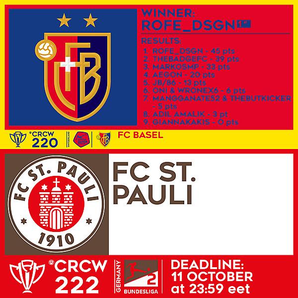 CRCW 220 RESULTS - FC BASEL  |  CRCW 222 - FC ST. PAULI