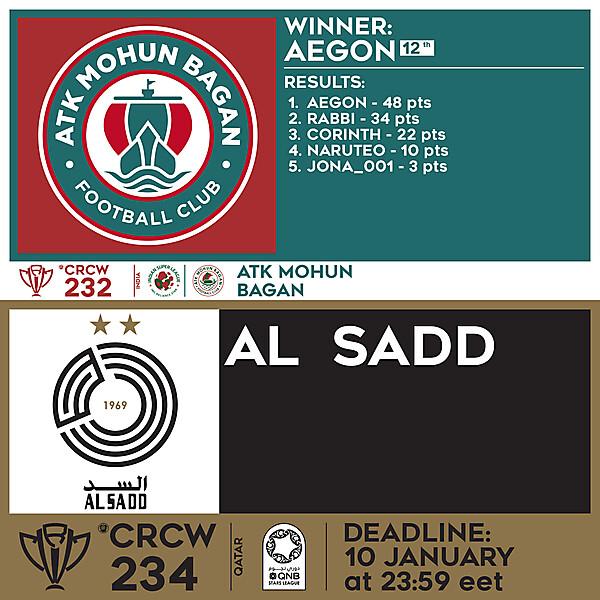 CRCW 232 RESULTS - ATK MOHUN BAGAN  |  CRCW 234 - AL SADD