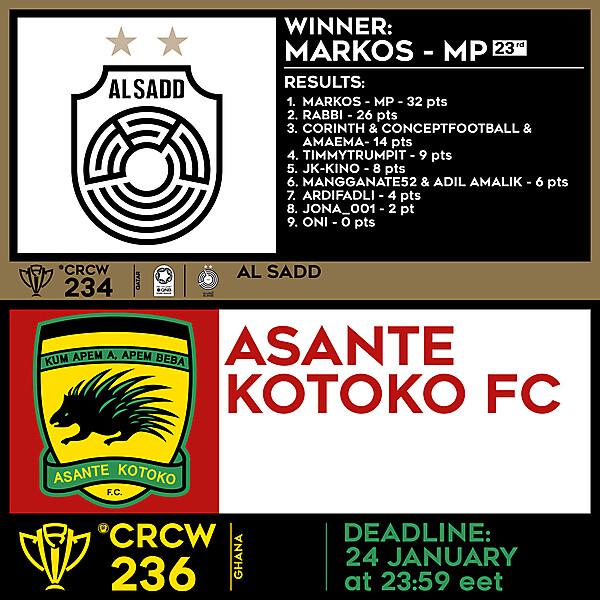 CRCW 234 RESULTS - AL SADD  |  CRCW 236 - ASANTE KOTOKO FC