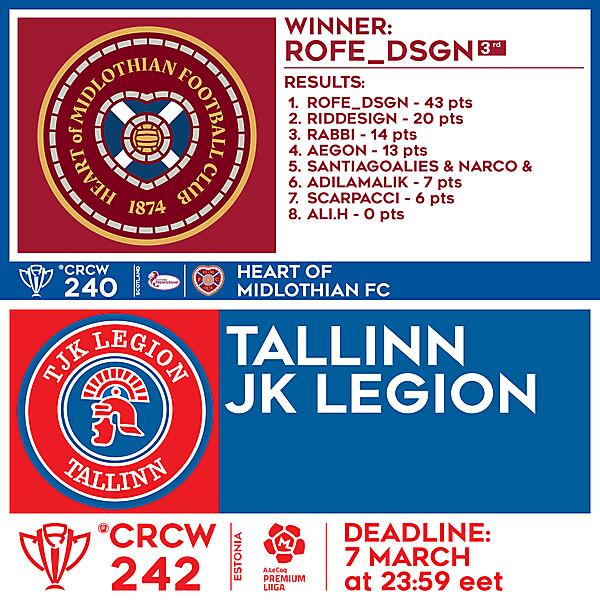 CRCW 240 RESULTS - HEART OF MIDLOTHIAN FC  |  CRCW 242 - TALLINN JK LEGION
