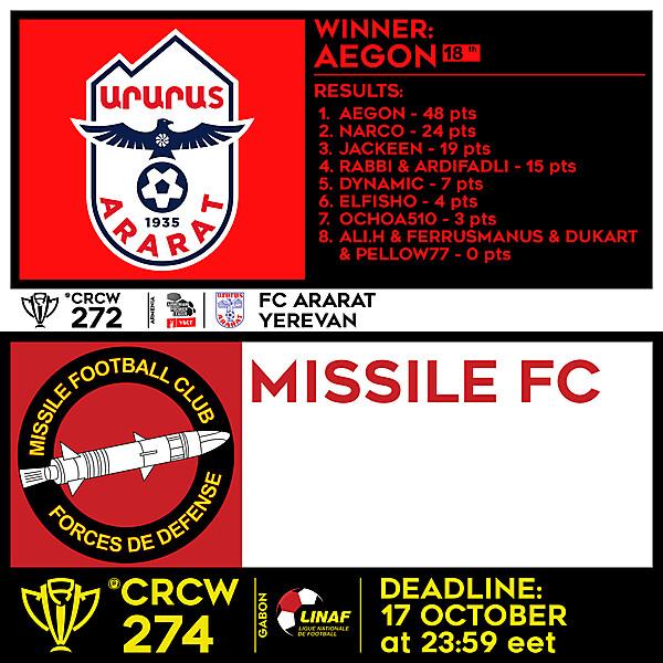 CRCW 272 - RESULTS - FC ARARAT YEREVAN  |  274 - MISSILE FC