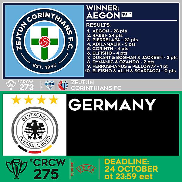 CRCW 273 - RESULTS - ZEJTUN CORINTHIANS F.C.  |  CRCW 275 - GERMANY