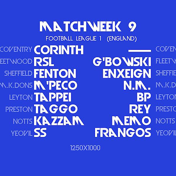 Matchday 9 Draw : Azure League