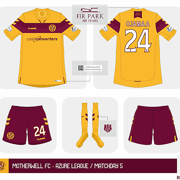 Motherwell FC home kit - Azure League Matchday 5