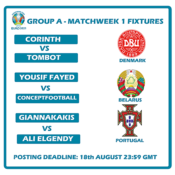 Group A Matchweek 1 Fixtures
