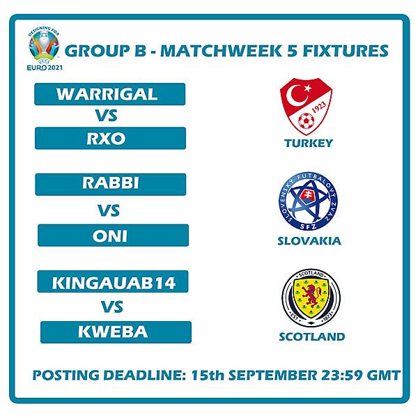 Group B Fixtures Matchweek 5