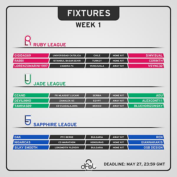 [WEEK 1] Fixtures [REUPLOAD]