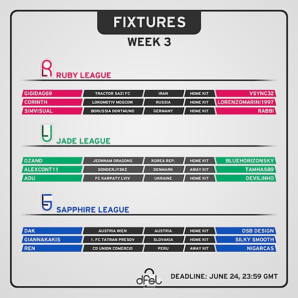 [WEEK 3] Fixtures