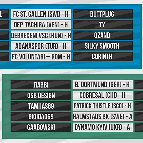 DFSL Round 1 Fixtures