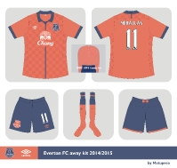 Everton FC Umbro away kit 2014/2015